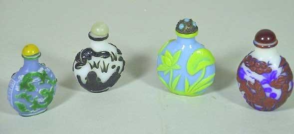 9: 4 Vintage Chinese Peking Glass Snuff Bottles