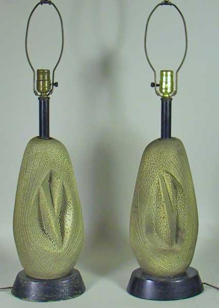 10: Pair Of Retro Moderne 50's Terra Cotta Lamps