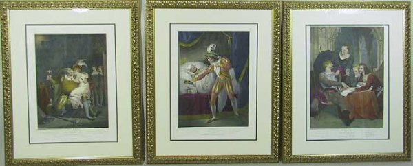 15: 3- 18th C.  Colored Boydell Engravings Shakespeare