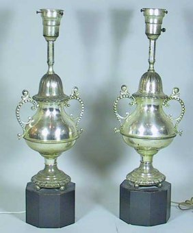 Vintage Pair Of Silver Plate Urn Shaped  Lamps