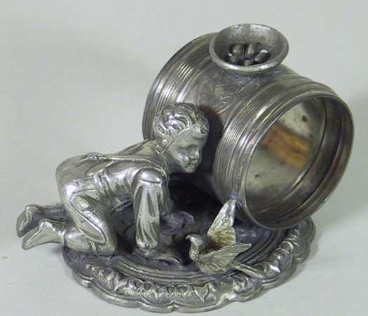 20: Rare Victorian Silver Plate Napkin Ring Boy /  Bird