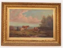 Estate Fresh Albert Bierstadt O/C  Painting of Cows