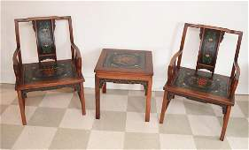 Unusual Chinese Rosewood  Hand Painted Chairs & Table
