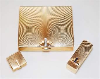14k Gold & Diamond Tiffany Compact, Lipstick, Pill Box