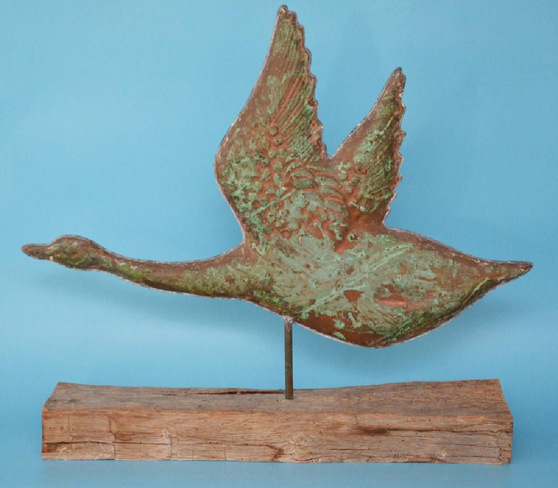 Vintage Copper Flying Duck Weathervane Feb 21 2019 Applebrook Auctions Estate Sales In Ct