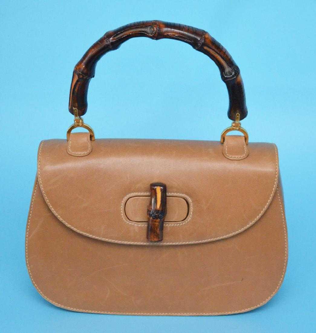 6bd881f54e9 Vintage Gucci Bamboo Handle   Leather Handbag