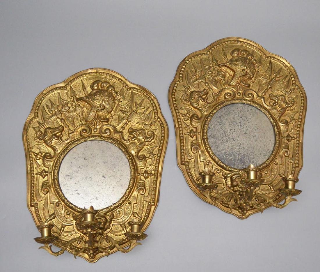 Pair Of Antique Brass Repousse Mirrored Sconces