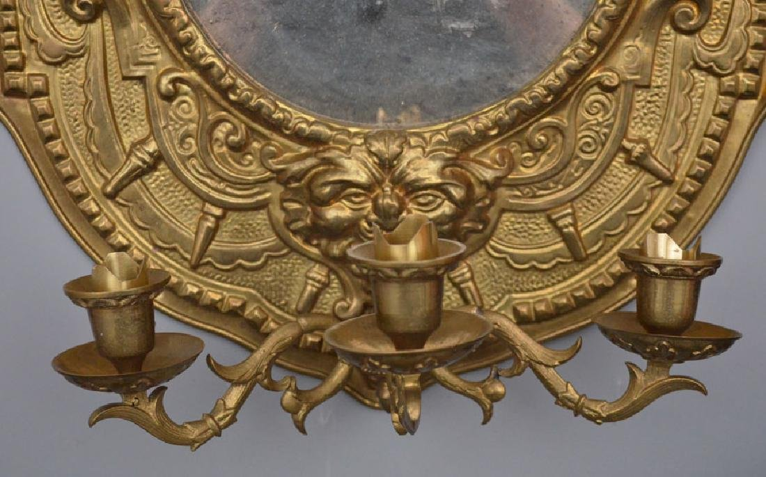 Pair Of Antique Brass Repousse Mirrored Sconces - 5