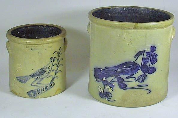 3: Blue Decorated Crocks Bangor / R.A. White & Son