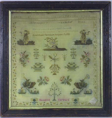 5: 19th C. Needlework Sampler Signed Susanna Sarwood