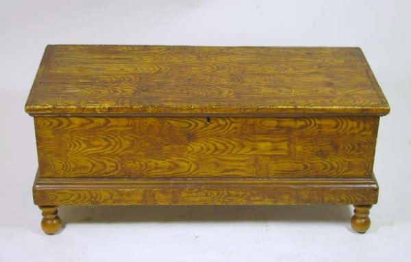6: 19th Century Grain Painted Country Blanket Chest