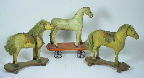 13: 3 Antique Folk Art Primitive Wooden Horse Toys