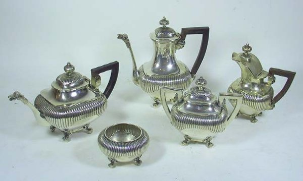 15: Art Deco Figural Chinese Sterling Silver Tea Set