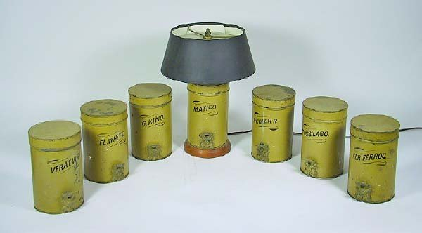 17: 7 Piece Vintage Italian Tole And Iron Canister Set