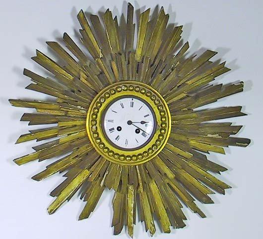 21: 19th C. French Porcelain & Wood Sun Burst Clock