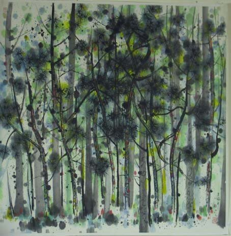 47: Signed Chinese Scroll Painting Of Trees