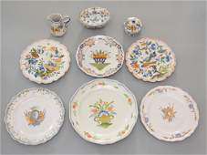 Lot of French Faience Pottery (Rouen, Quimper)