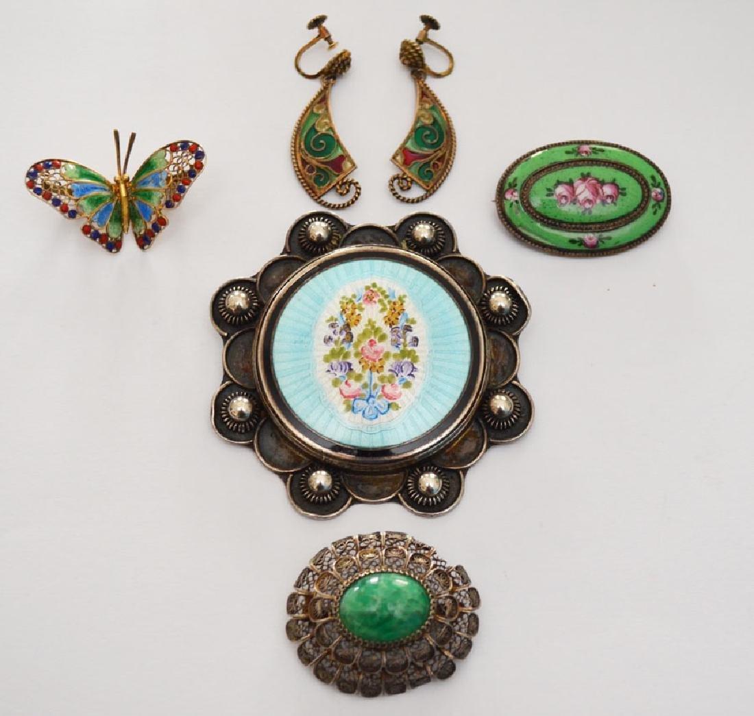Generous Lot of Sterling & Enamel Jewelry