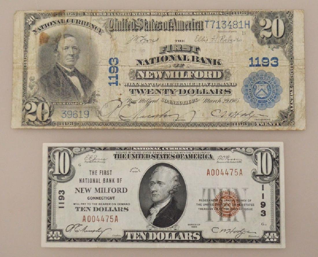 2 New Milford CT National Currency Bills + Bond