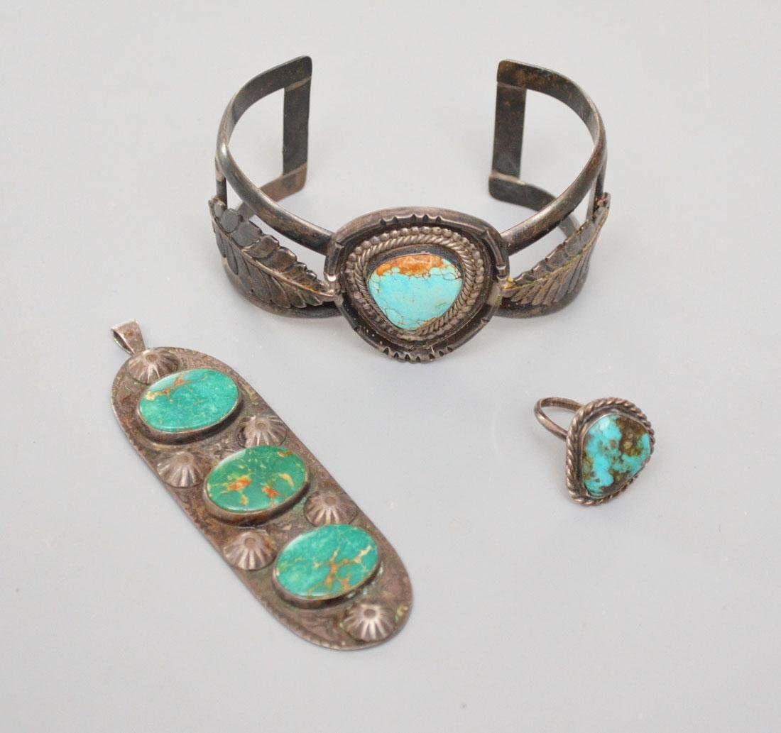3pcs of Antique Native American Turquoise & Silver