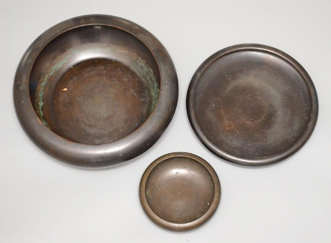 Lot Of 3 Bronze Japanese Bowls