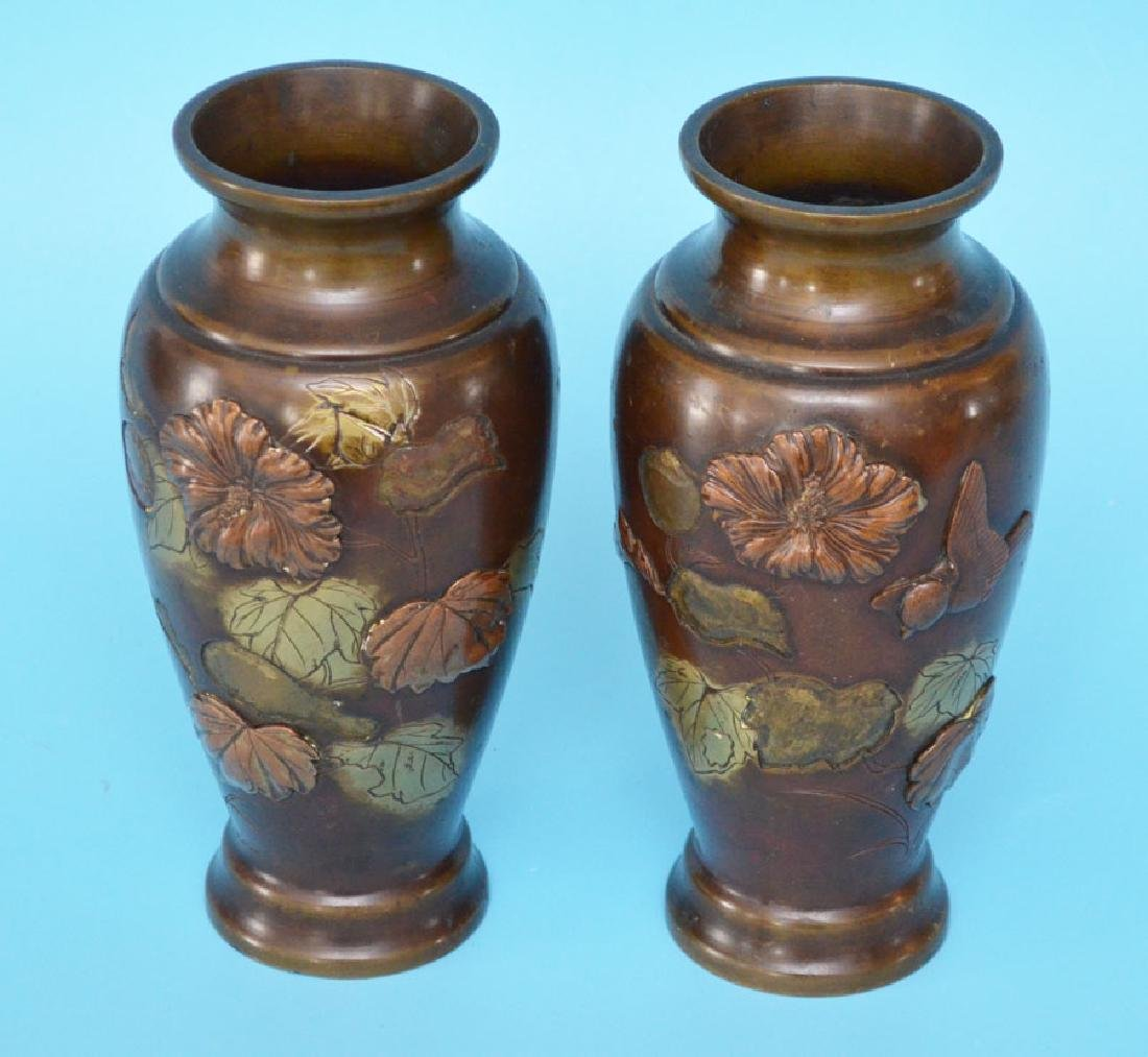 Pair Of Bronze Japanese Vases
