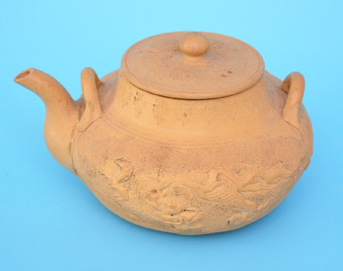 Signed Yixing Chinese Dragon Clay Teapot