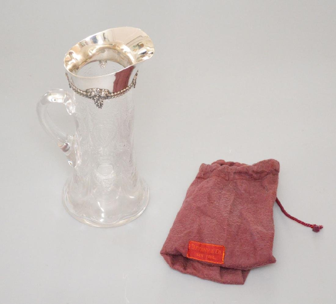 Tiffany & Co Sterling Silver & Etched Crystal Pitcher