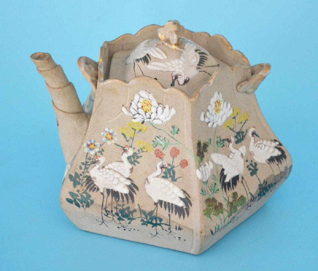 Signed Painted Clay Japanese Teapot