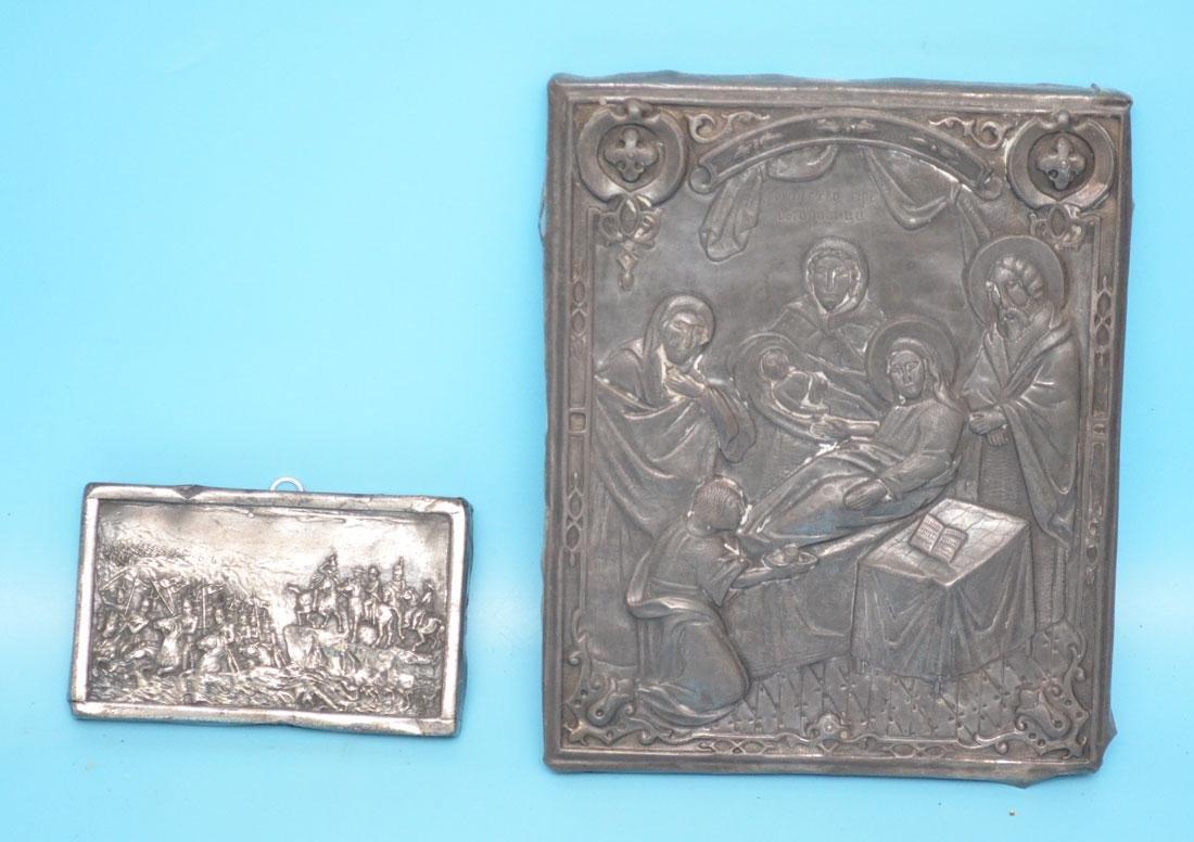 2 Antique Metal Reliefs (Icon & Napoleon)