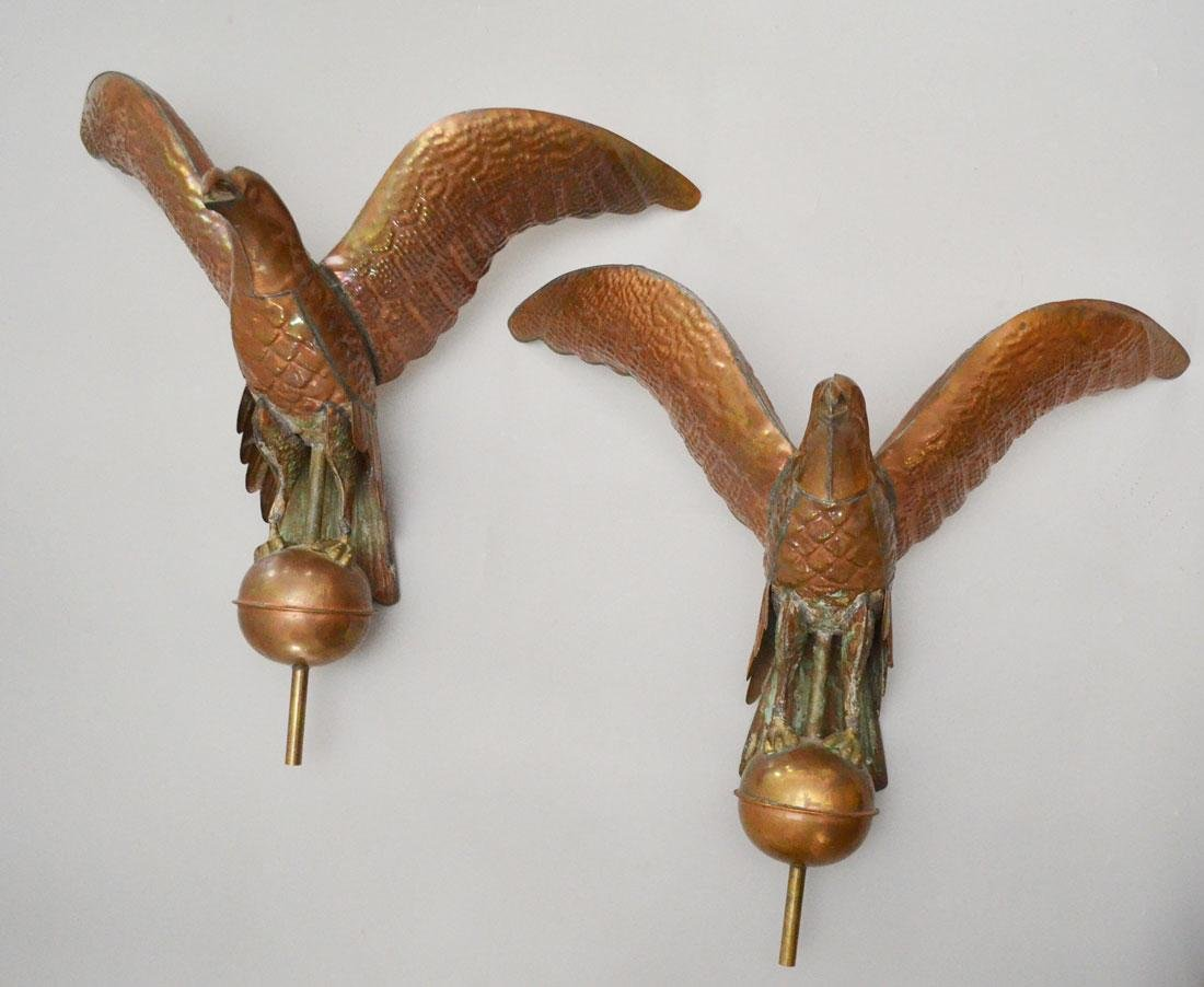 2 Copper Full Body Eagle Weathervanes