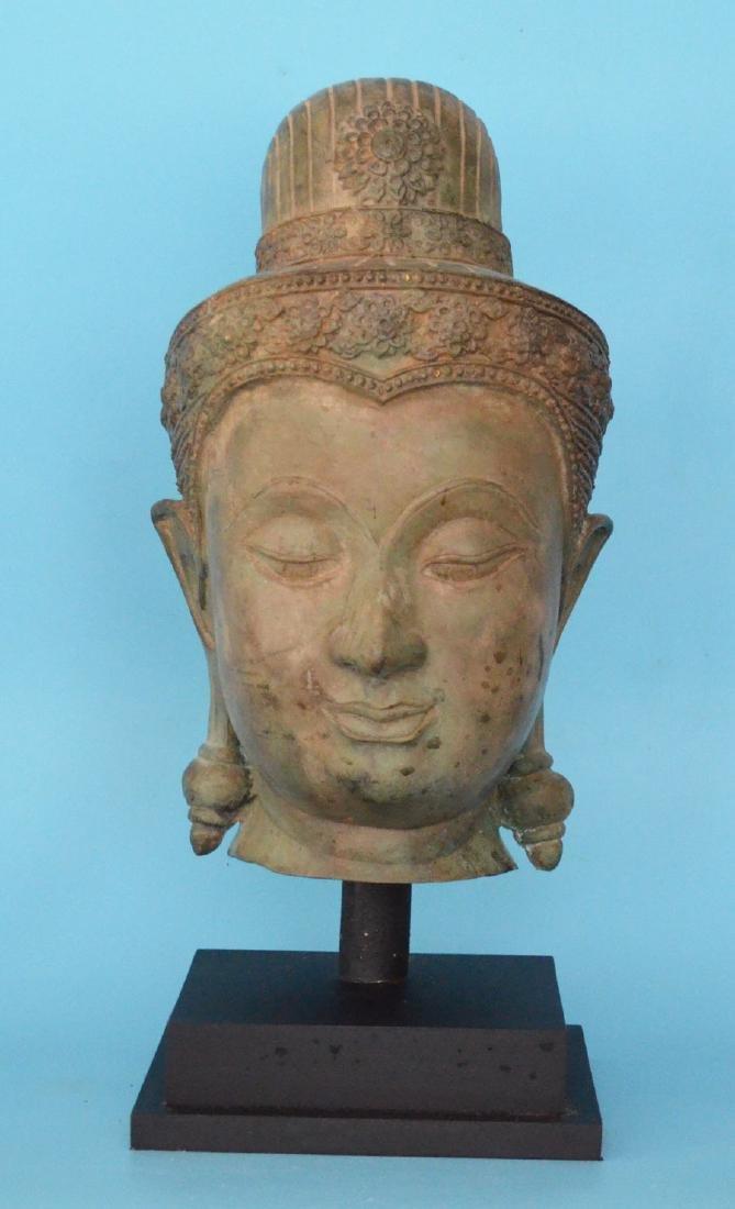 Large Bronze Buddha Head Statue