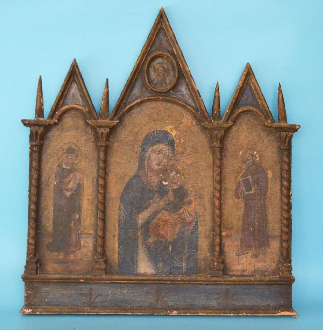 Early Estate Fresh  Italian Painted Religious Triptych