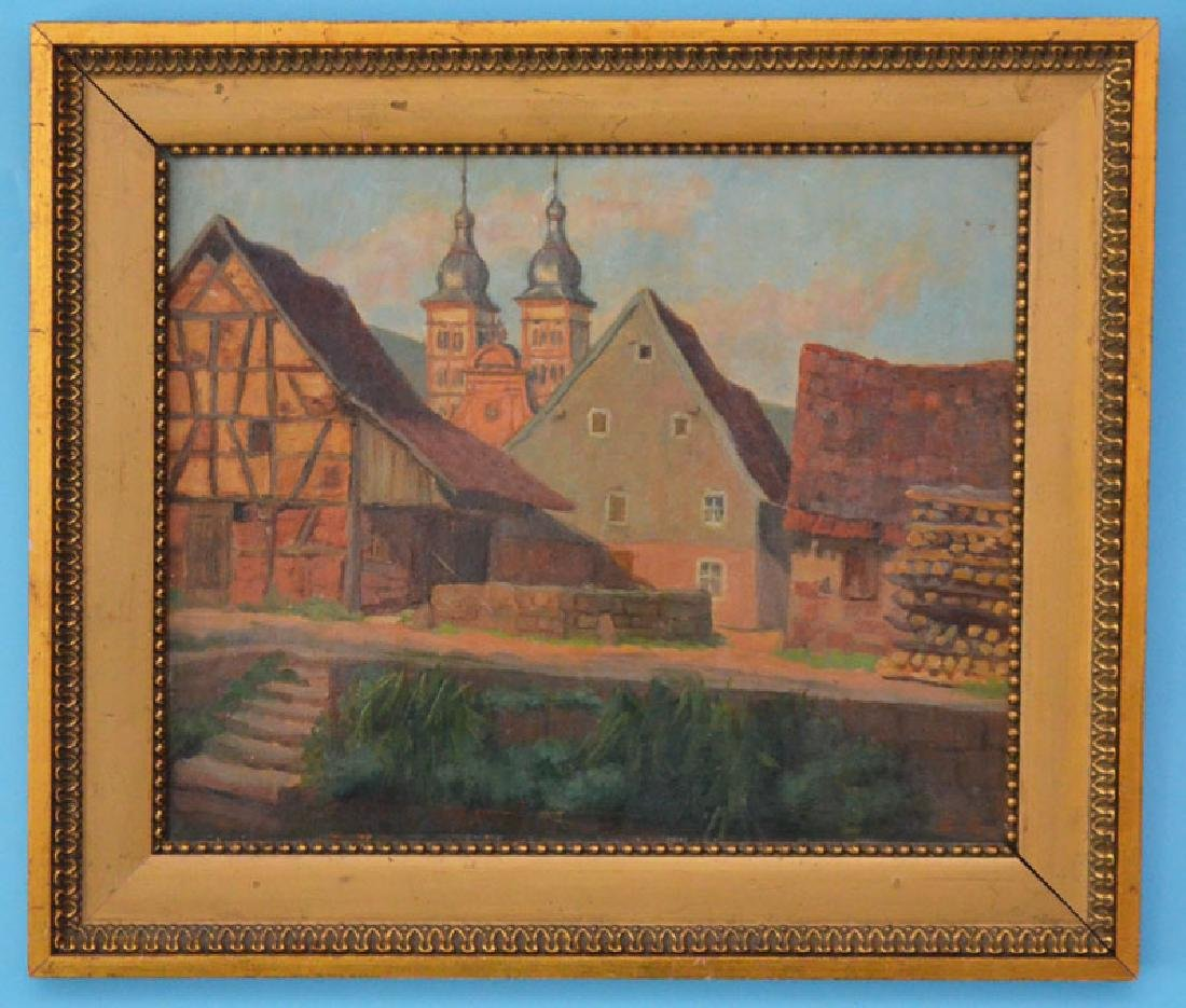 Charming Emmy Labes Village Scene Oil Painting