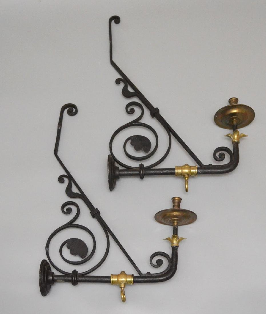 Pair of Gothic Iron & Brass Sconces
