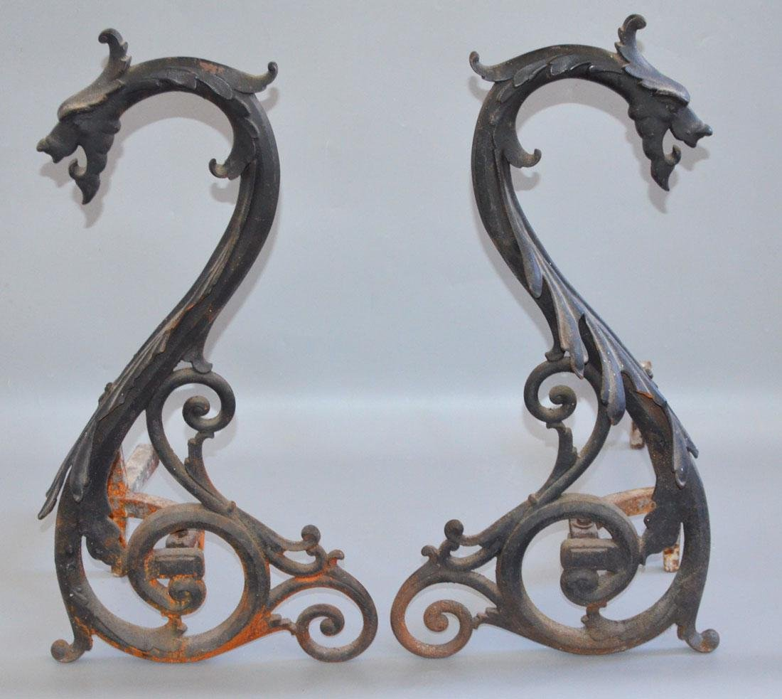 Monumental Griffin Gargoyle Cast Iron Andirons