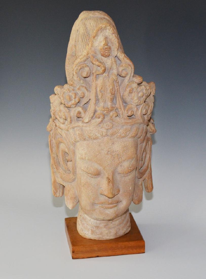 Chinese Quan Yin Terra Cotta Pottery Bust
