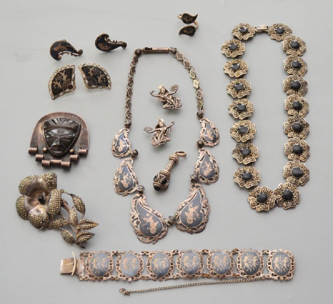 Lot of Sterling Silver Jewelry (Niello, Marcasite)