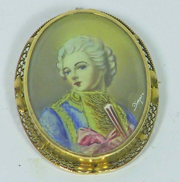 5B: Victorian Gold Cameo Pin Signed Painting on Ivory