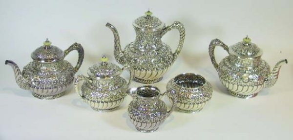 8: Repousee Silver Plate Tea Set  Simpson Hall Miller