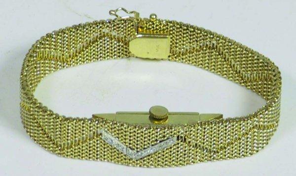 9B: Swiss Cortina 17 Jewels 14k Gold Watch With Diamond