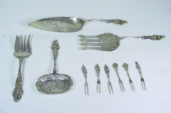 13B: Ornate Sterling Silver Italian Nouveau Fish Set