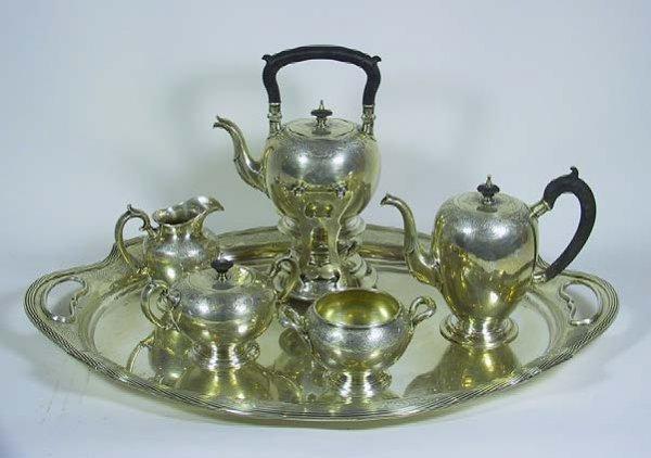 17B: 6 Pc Antique Chased Gorham Sterling Silver Tea Set
