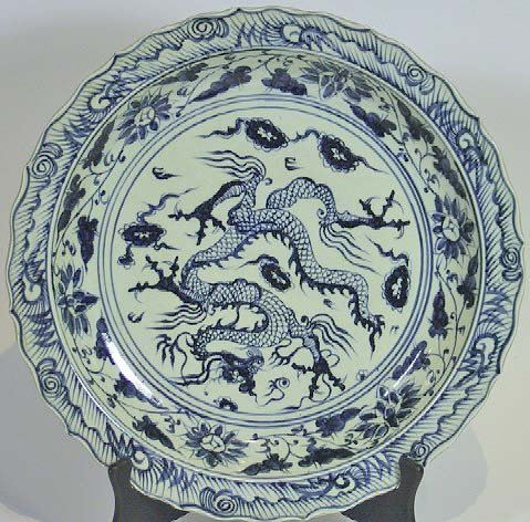32: Oversized Ming Period Blue & White Charger  Dragon