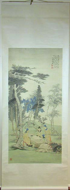 34: Signed Chinese Scroll Painting Of 4 Men