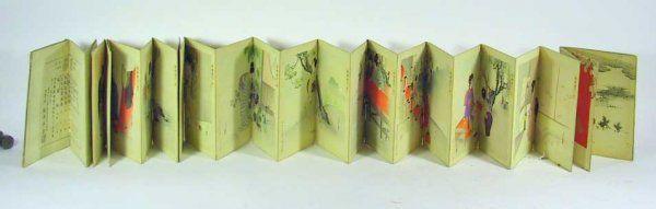 Unusual Antique Signed Woodblock Print Book