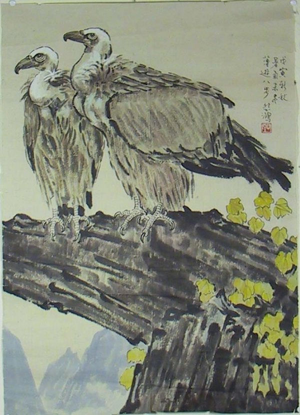 98: Important Signed Chinese Painting Of Vultures