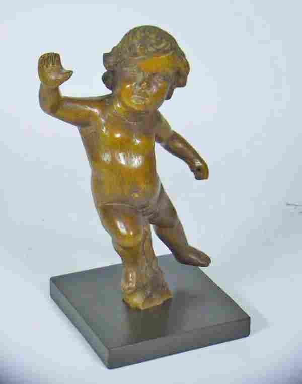 19th Century Carved Italian Wooden Cherub Figure.