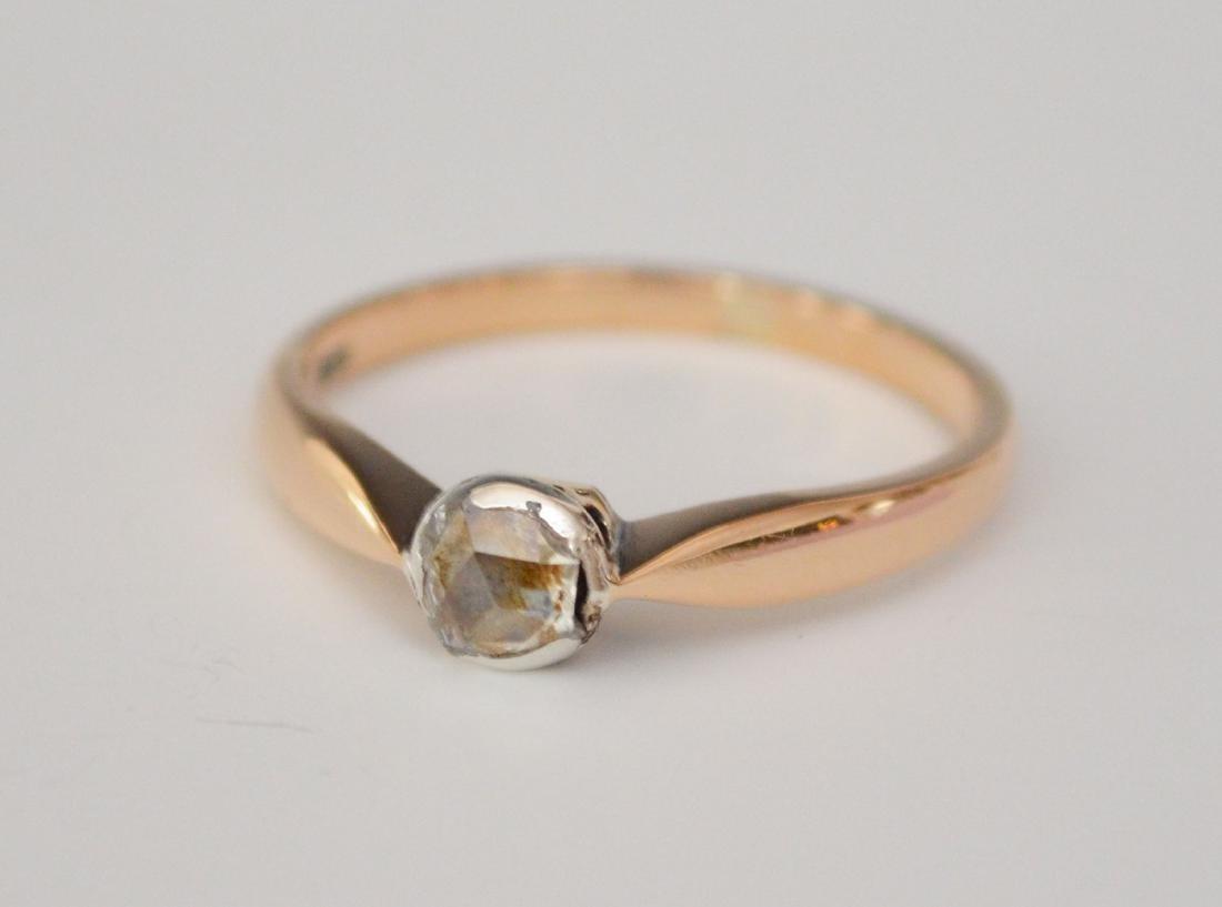 14K Older Single Cut Diamond Ring
