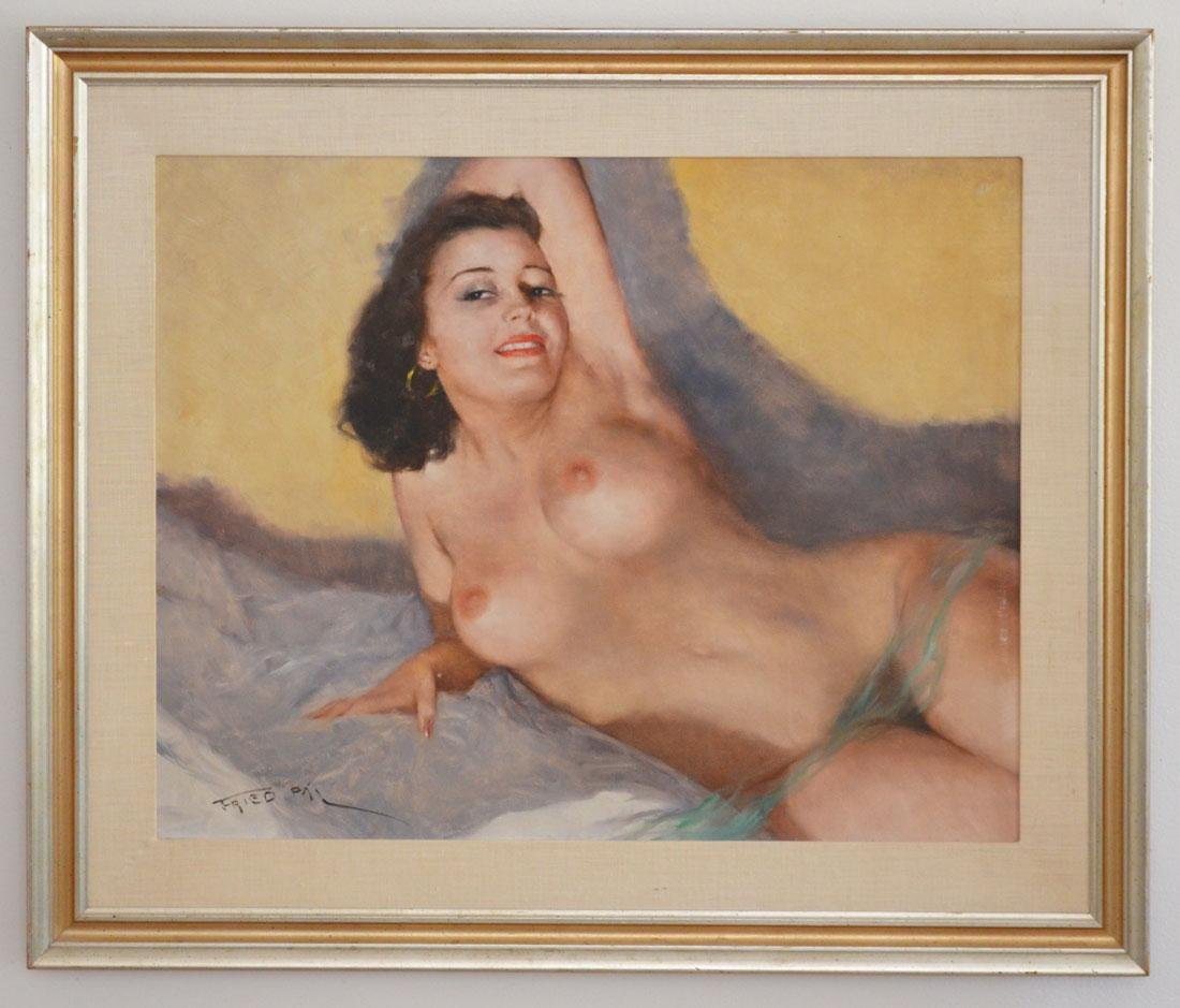 Stunning Pal Fried Signed Nude O/C Painting